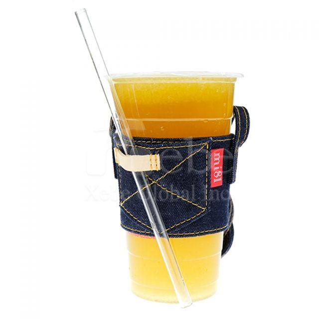 牛仔布環保飲品袋訂製 可側背飲品杯手提袋