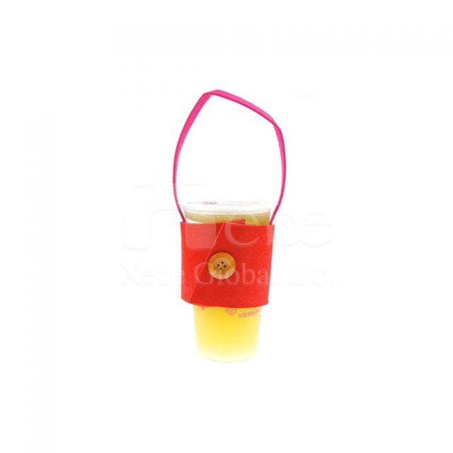 糖果色鏤空Logo羊毛氈訂造飲料提袋 宣傳禮品